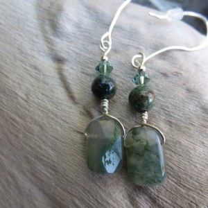 Handmade Agate and Sterling Earrings