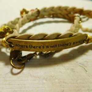 """Natural suede leather braided bracelet with bronze tone plate connector said """"Where there's a will there's a way"""" and 8 charms #B00226"""