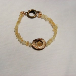 Citrine, Shell and Swarovski Crystal Bracelet