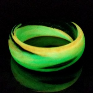 Men's or Women's Carbon Fiber Green/Orange/Black Marbled Glow Ring - Handcrafted - Black, Green and Orange Glowing Band - Custom Band widths