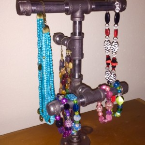 Industrial Black Pipe Jewelry, Necklace, Bracelet Storage rack, necklace stand, jewelry storage