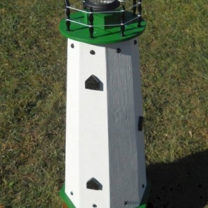 "36"" Solar lighthouse wooden decorative lawn and garden ornament - green accents"