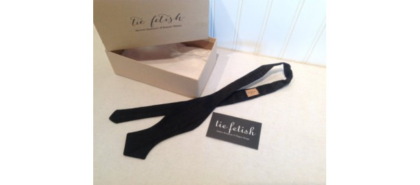 Single end dupioni silk bow tie in black  freestyle only