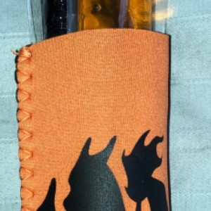 Orange Neoprene Freeze Pop Holder with Charizard  and 2 freeze pops handmade