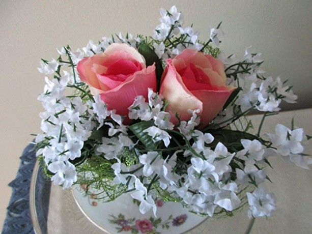 Tea Cup Rose Flower Arrangement Large Pink Roses with White Flowers
