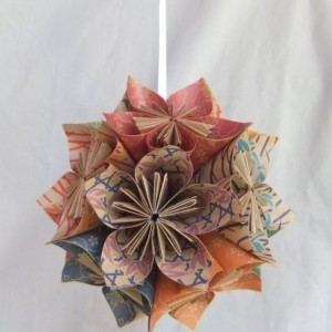 The Natural Origami Flower Ornament, Christmas Tree Ornament, Christmas Decor, Fan Pull, Origami Ball, Origami Ornament, Wedding Decoration
