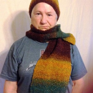 Adult Hand Knit Scarf, Autumn Varigated Colors