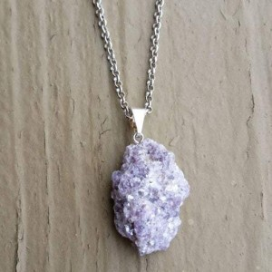 RAW LEPIDOLITE CRYSTAL NECKLACE