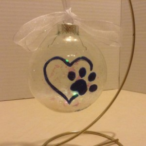 Ornament,  glass,  paw prints and heart, hand painted