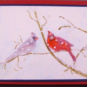 Cardinals In the Snow, Pop Up Watercolor Card