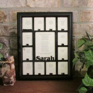School Years Days Picture Frame with Name Graduation Collage Black Frame Black Matte 11x14