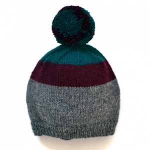 Wool baby hat --handmade knit hat with pompom