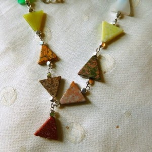 "Nylon Silk cord light brown 26"" long necklace with triangles colorful natural stones. #N00132"