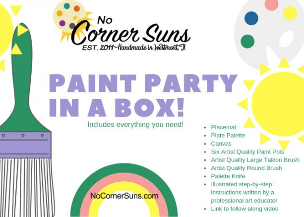 Paint Party in a Box! Paint a Unicorn or a Llama in Acrylics with fully illustrated directions and Artist Quality products.-free shipping