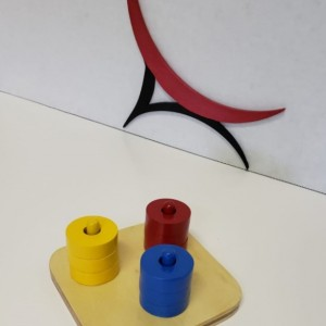 Montessori Infants Rings on Dowel - Horizontal Dowel, Vertical Dowel, Rings Sorter, Cubes and 3 Colored Rings on Colored Dowel
