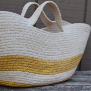 Marktet Tote, coiled rope basket with handles