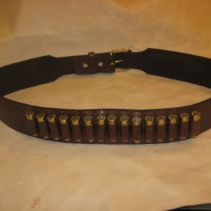 Western Leather Gun Belt w/Cartridge Loops Gun Slinger Style Gun Belt