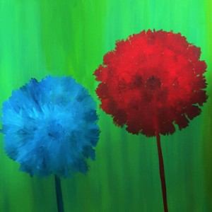 Oil Painting on Canvas- Original Art- Floral Artwork-Red Blue Daffodil Flowers-Green Painting-36x36-Botanical-Sarah Floyd