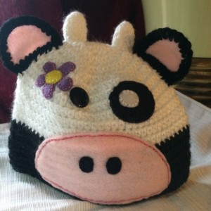Pretty Cow baby girl hat Crochet Baby girl Hat with flower decorated DES#005