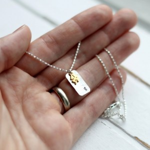 Sterling Silver Hand Stamped Gold Shamrock Initial Necklace
