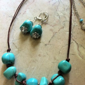 Leather necklace set with turquoise nuggets beads & earrings #NES00126