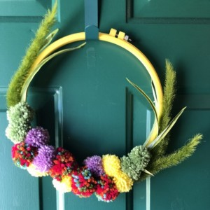 Dogs Tail and Pom Pom Flowers Embroidery Hoop Wreath - Yellow Hoop Wreath - Pom Pom Yarn Wreath - Crested Dog Tails Cactus Wreath