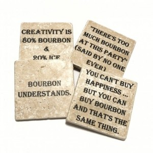 Bourbon Coasters Natural Stone Coasters Set of 4 Different Quotes with Full Cork Bottom