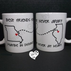 Best Friends Forever Mug (1 mug), BFF Miss you , State and city mug, custom mugs, custom text, distance mug, birthday gift, going away