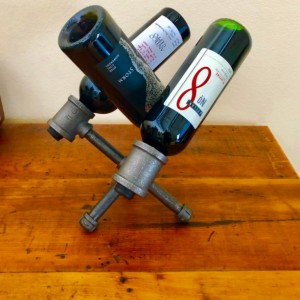 Industrial Black Pipe Wine Rack, Liquor Bottle Holder - Holds up to 3 Bottles