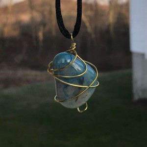 Gold Wire Wrapped Teal Gemstone Pendant