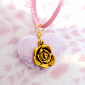 For the Love of the Craft Mixed Media Lavender Gold Rose Heart Charm Pendant