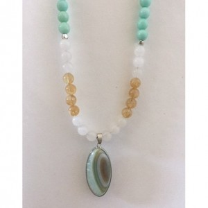 Handmade Light Green Glass Beaded Necklace and Lovely Agate Pendant