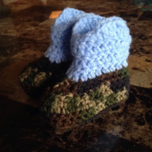 0/6 Month Blue & Camo Boys Baby Crocheted Cowboy Boots