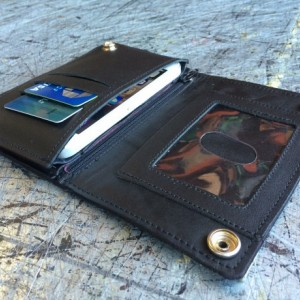 """Mens Window & Zipper Wallet, With 18"""" CHROME CHAINS ONLY, Genuine Leather, Mens Biker Wallet, Durable Wallet, Made in SoCal, Made in USA"""
