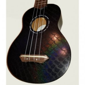Concert Mermaid Ukulele, Holigraphic Painted Glitter Ukulele, Black Ukulele, Rainbow Ukulele, Decorated instrument, soprano, tenor, baritone