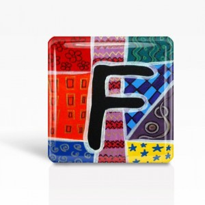 "ALPHABET Letter ""F"" - Glass MAGNET By Artist A.V.Apostle- 2""x 2"""