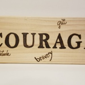 One Word + Synonyms, wood burned wood block