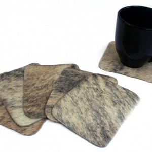 Six Cowhide Coasters - set of 6 gray brindle hair on hide leather coasters rectangle