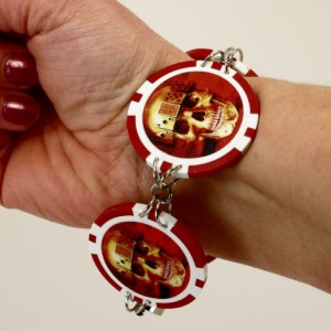 Skull Poker Chip BRACELET - Rockabilly Punk Las Vegas Blackjack Upcycled Alternative