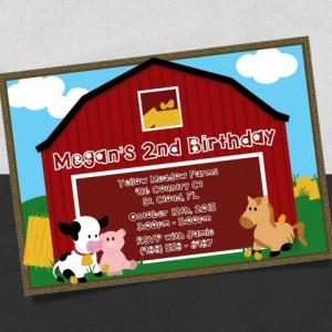 Printed Baby Farm Birthday Invitation with a baby Cow, Baby Pig, Baby Horse and baby chicks