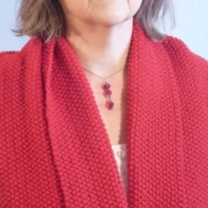 Hand knit Red Warm Wool Long Wrap Scarf Hood