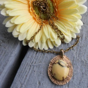 Bronze Metal Clay and Yellow Marble Pendant