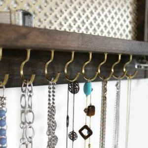 Wall Jewelry Storage  - Wooden Wall Hanging Jewelry Shelf & Stud Holder