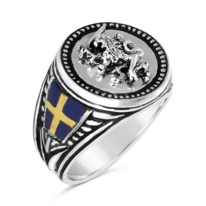 Swedish Lion Coin Ring sterling silver