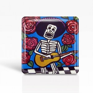 "Mexican Folk Art- Day of the Dead/Skeleton Musician - Glass MAGNET By Artist A.V.Apostle- 2""x 2"""