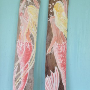 2 Hand Painted Coral Mermaids On Driftwood bathroom wall decor