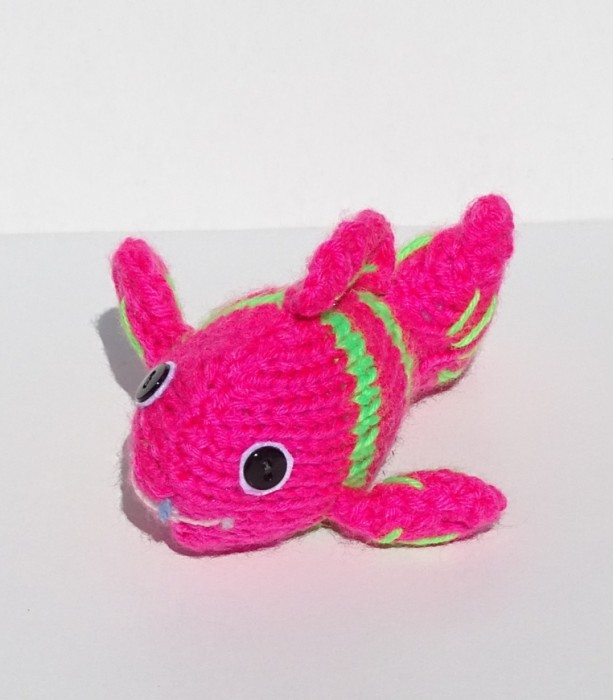 Knit Fish, Hand Knitted Fish, Neon Toy, Stuffed Toy, Soft Toy, Nursery Decor, Small Tropical Fish, Knitted Toy, Ready to Ship, Gift Under 10