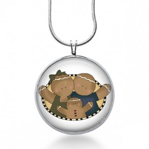 Gingerbread Family Necklace - Ginger Bread Jewelry - Cookie Pendant - Holiday