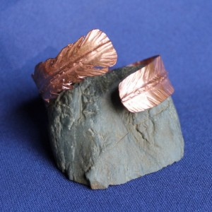 Copper Cuff Foldformed Feather