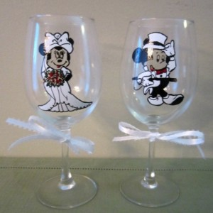 Mickey and Minnie Mouse Wedding Dress Wine Glass 12 oz